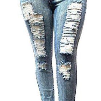 Womens Plus Size Acid Wash Distressed Ripped Blue Skinny Denim Jeans Pants (16)