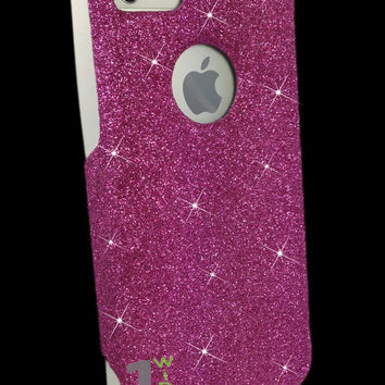 Custom Glitter Case Otterbox for iPhone 5 Raspberry/White