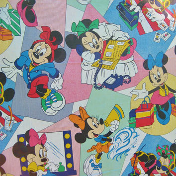 Vintage Disney Minnie Mouse Flat Sheet Twin Size Bedding Craft Fabric Clean USED HTF Cheerleader Shopping Made in USA Kids Bedding