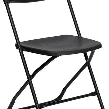 (100 PACK) 400 Lbs Capacity Commercial Quality Plastic Folding Chairs in Black