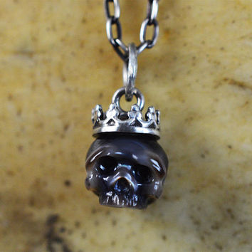 READY TO SHIP - Hand Carved Black Pearl Skull Wearing Small Sterling Silver Crown Necklace - Skull Jewelry - Pearl Necklace - Unique Gift