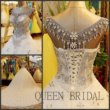 Free shipping luxury ball gown cap sleeve hand beaded arab bridal gown wedding dress wedding gowns bride dresses 2017 XD17