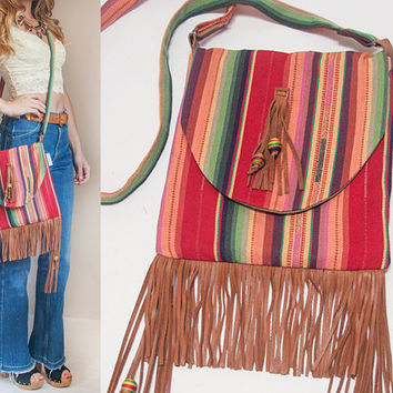 Desert Wanderer Aztec Leather Fringe Bag | Handmade Crossbody Genuine Leather Fringe Purse | NEW Boho Hippie Large Cross Body Messenger Bag