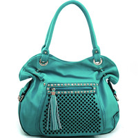 Women's Belted Fashion Shoulder Bag w/ Rhinestone Studs & Front Zippered Pocket - Turquoise Color: Turquoise