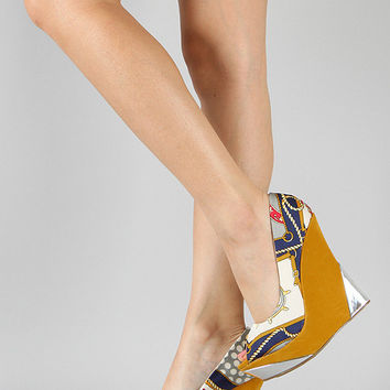Women's Wedge Shoes With Zen Print And Mirror Detail On Heel In Yellow And Navy Multi (Small/Indie Brands)