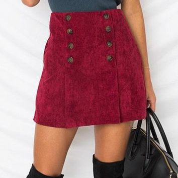 Red High Waist Double Breasted Front Corduroy Mini Skirt