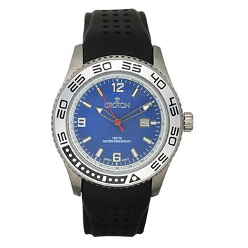 Croton Mens Stainless Steel Blue Blue Rubber Strap Watch