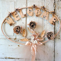 Metal cabbage roses welcome sign wall hanging vintage pink paint rusty shabby cottage chic distressed large home decor Anita Spero Design