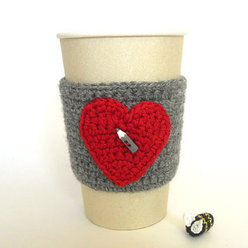Grey with red heart Cup Cozy  Tea Drinks Beverage by MariMartin
