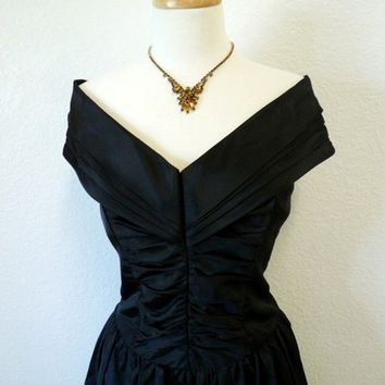 Vintage Black Strapless Dress 1950's Couture Formal Wedding Rockabilly Bombshell Evening Cocktail Party Dress