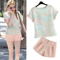 Rendered Color T-Shirt and Light Pink Shorts