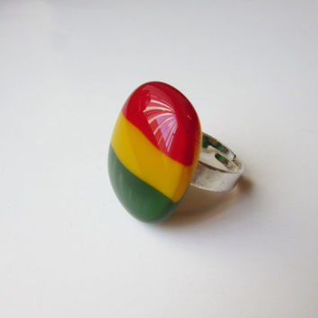 Rasta - Rasta Ring - Rasta Jewelry - Fused Glass Ring - Adjustable Ring - Rasta Accessory - Alternative Jewelry - nickel and lead free