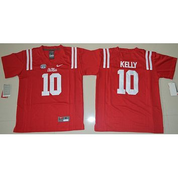 Nike Youth Ole Miss Rebels Chad Kelly 10 College Ice Hockey Jerseys - Red Size S,M,L,XL