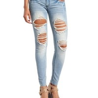 Light Wash Destroyed Skinny Jean: Charlotte Russe