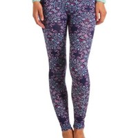 Cotton Floral Paisley Printed Leggings - Navy Combo