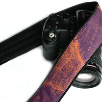 World Map Camera Strap. Orange Purple Camera Strap. Photo camera Accessories. SLR, DSLR Camera Strap. Camera Accessories.