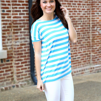 Piko Striped oversized top - blue