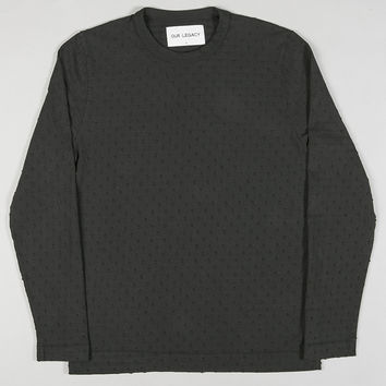 Our Legacy Longsleeve Tee Over-dyed Jacquard Dot Black