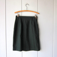 Dark Green Wool Skirt Vintage 80s Minimal High Waist Preppy Skirt Forest Green Fall Wool Mini Skirt with POCKETS Prep Skirt Womens Small