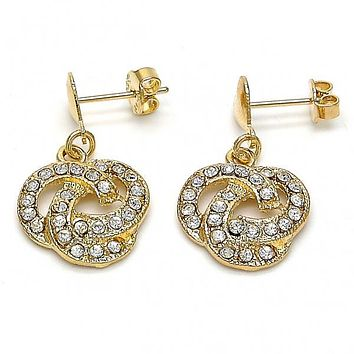Gold Layered 02.63.2490 Dangle Earring, Heart and Love Knot Design, with White Crystal, Polished Finish, Golden Tone