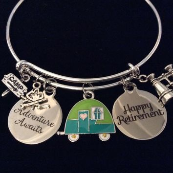 Camping Adventure Awaits Happy Retirement Adjustable Bracelet Expandable Silver Charm Bracelet Adjustable Bangle Office Worker Gift Retire Travel Binoculars Camper Camp Fire
