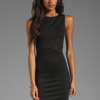 Alice + Olivia Darcey Sleeveless Leather Piped Dress in Black
