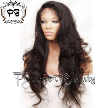 Free shipping curly virgin remy brazilian human hair full lace wig natural  color Wavy full lace a61c4d3a1