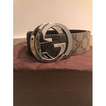 Kalete Authentic Gucci GG Supreme belt with G buckle Size 36