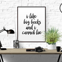 I Like BIG BOOKS and I Cannot Lie funny quote art Watercolor print typography mixed media altered book page print Retro Print Funny Wall Art