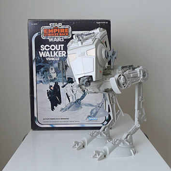 Vintage Star Wars Toy, 1982, Scout Walker with Original Box and Instructions, Empire Strikes Back - gray, sci fi, for him, collectible toy