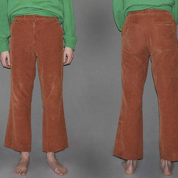 Mens Vintage 60s CORDUROY FLARES / Copper Brown, High Waisted Pants / Groovy, Hippie Bell Bottoms / Cotton Cords / 30 x 30