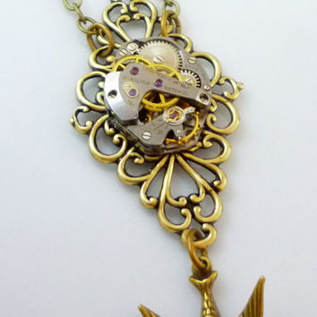 Steampunk Neo-Classical Necklace with Vintage Watch Movement Filigree Pendant and Swallow Bird Descending By Victorian Folly