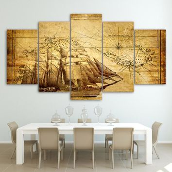 Old World Map with Ship For Living Room Office Canvas Panel Wall Art Framed UNfr