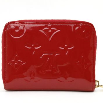 Louis Vuitton Monogram Vernis Zippy Coin Purse Red M90202 Auth #4461