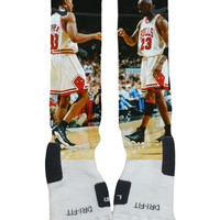 Custom Nike Elite Sock-Michael Jordan Scottie Pippen Fist Bump