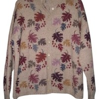Ana Miranda Womens Falling Leaves Leaf Peru Sweater L Xl Wool Alpaca Cardigan