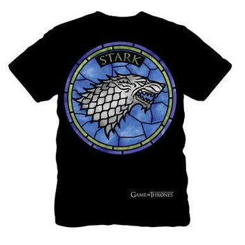 Game of Thrones House Stark Direwolf Stained Glass Sigil Adult T-Shirt