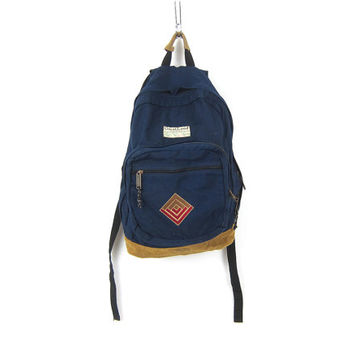 GreatLand Outdoor BackPack Rugged Back pack School Bag Camping Travel Tote Purse Unisex Navy Blue Nylon Suede Leather