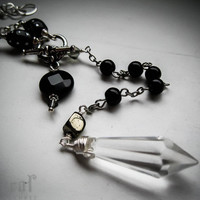Pendulum Necklace in Silver with Onyx and Pyrite. by feralstrumpet