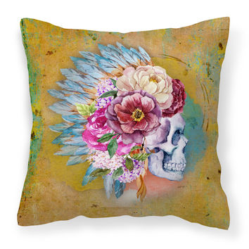 Day of the Dead Flowers Skull  Fabric Decorative Pillow BB5129PW1414