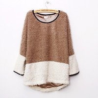 Fuzzy Cute Two Tone Knitted Loose Style Sweater