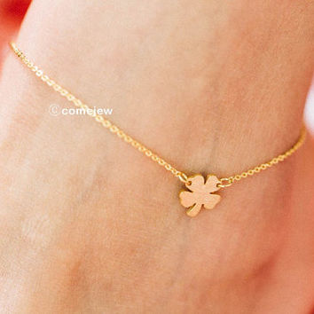 Four leaf clover Anklet,Cute leaf anklet,leaf anklet,anklets for women,anklet bracelet,ankle jewelry,ankle chain,charm anklet,SAK21