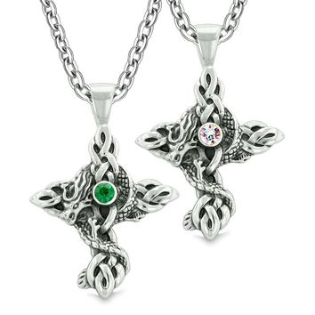 Fire Dragon Celtic Knots Protection Cross Amulets Love Couples Best Friends Rainbow Green Necklaces