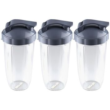 3 Pack NutriBullet 32 oz Colossal Cups with Flip To-Go Lids NB-101s
