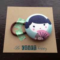 Button ponytail holder - Kokeshi Japanese Doll