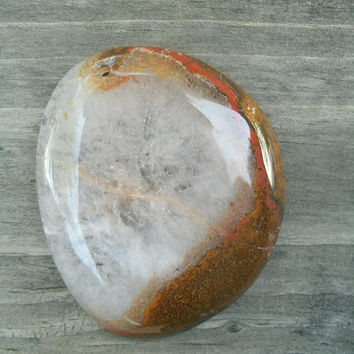 Unique druzy agate pendant stone, DIY jewelry supply beads, free form, polished and drilled, clear/white druzy agate shows light, brown plus