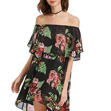 Floerns Womens Floral Off Shoulder Ruffle High Low Swing Mini Dress