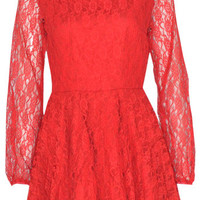 Inez Pleated Lace Dress in Red