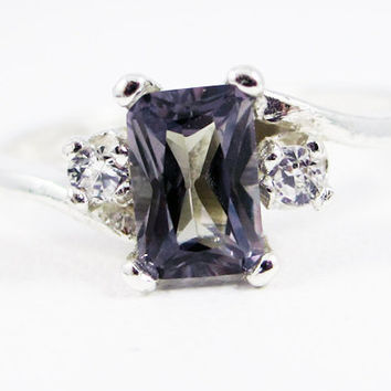 Emerald Cut Alexandrite and White CZ Accent Ring in Sterling Silver