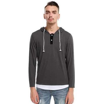 Mens Fashion Layered Hooded Long Sleeve T-Shirt